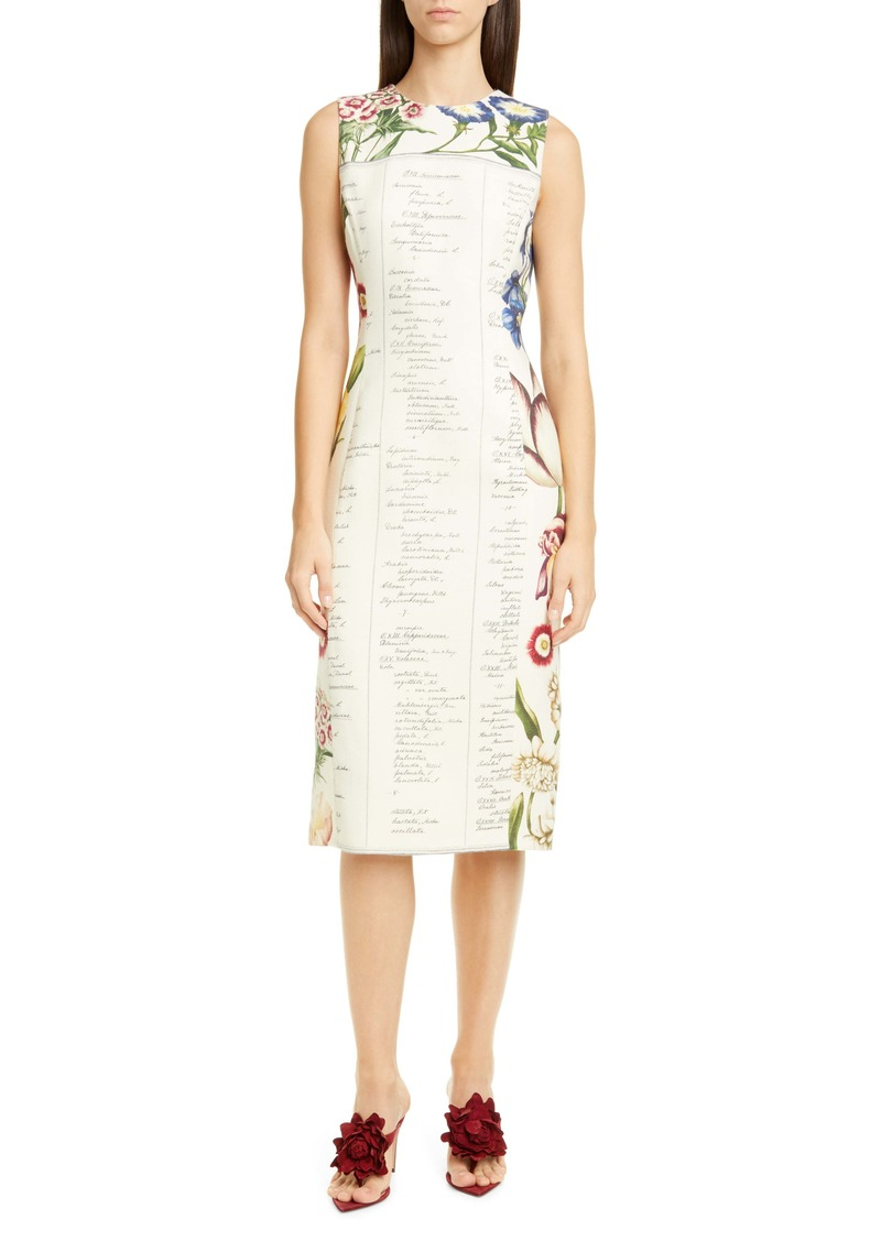 Oscar de la Renta Floral Sleeveless Wool Midi Dress