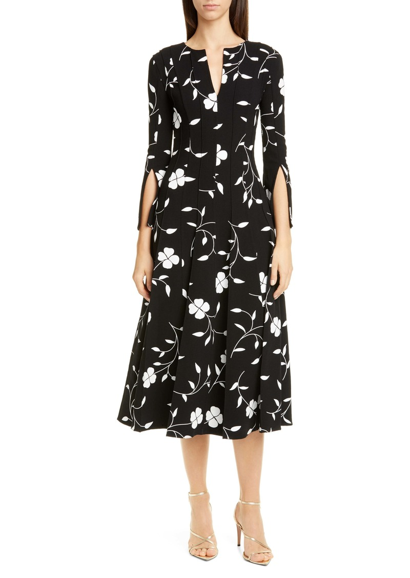 Oscar de la Renta Floral Split Sleeve Midi Dress