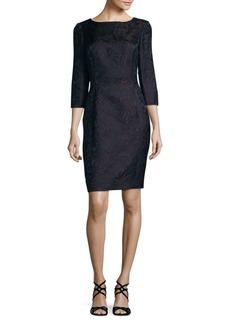 Oscar de la Renta Floral Three-Quarter Sheath Dress