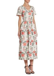 Oscar de la Renta Floral V-Neck Dress