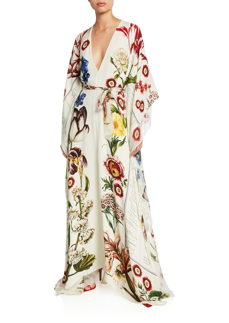Oscar de la Renta Floral V-Neck Long-Sleeve Self-Belt Silk Caftan