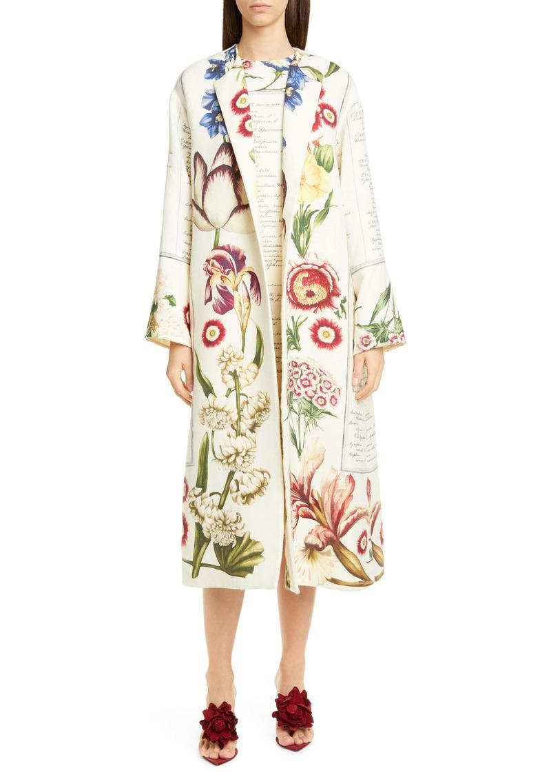 Oscar de la Renta Floral Wool Open Front Coat