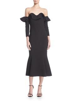 Oscar de la Renta Flounced Off-Shoulder Illusion Midi Dress
