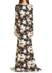 Oscar de la Renta Flower & Vine Print Crepe Gown