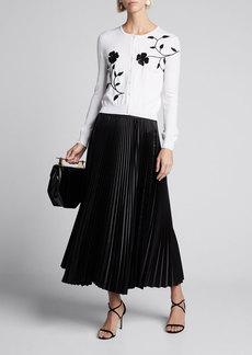 Oscar de la Renta Flower Embroidered Button-Front Wool Cardigan
