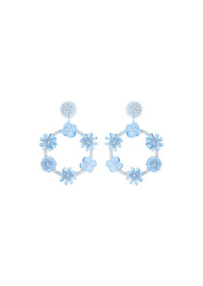 Oscar de la Renta Flower Hoop Drop Earrings