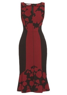 Oscar De La Renta Fluted-hem floral-brocade dress