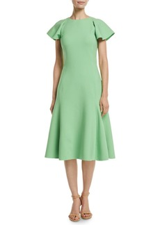 Oscar de la Renta Flutter-Sleeve A-Line Stretch-Wool Midi Dress