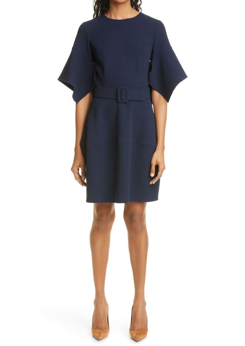 Oscar de la Renta Flutter Sleeve Belted Stretch Wool Crepe Minidress