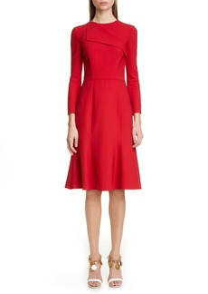 Oscar de la Renta Foldover Collar A-Line Dress