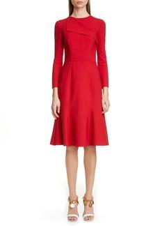 Oscar de la Renta Foldover Collar A-Line Dress