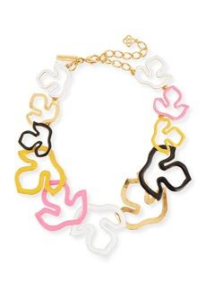 Oscar de la Renta Foliage Outline Painted Necklace