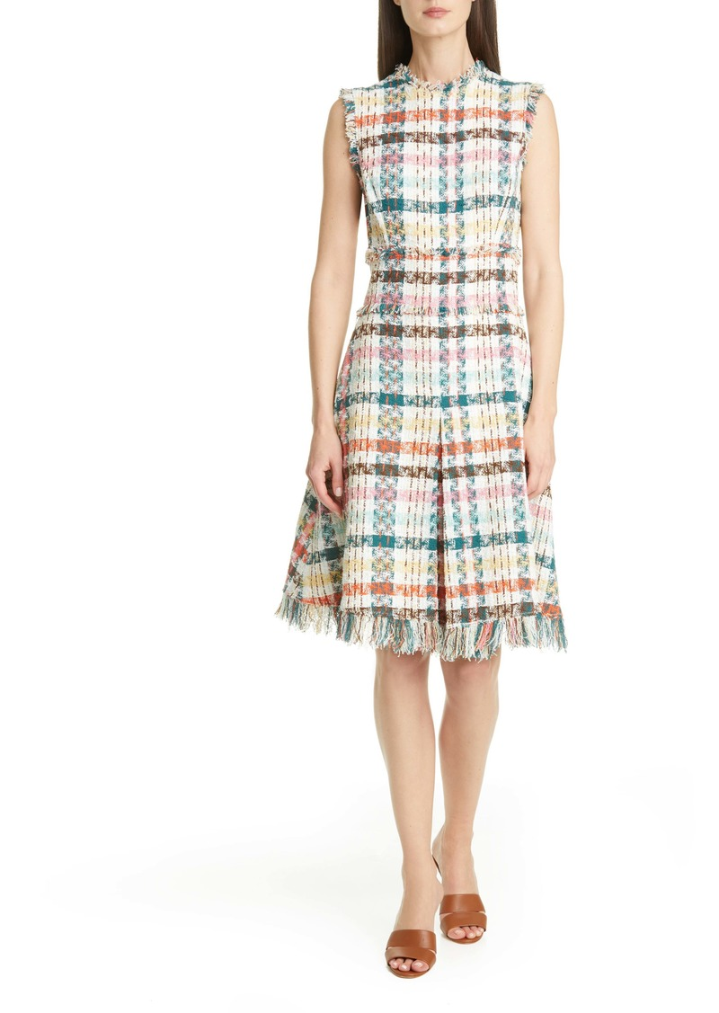 Oscar de la Renta Fray Edge Tweed Dress