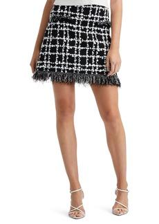 Oscar de la Renta Fringe Plaid Knit A-Line Miniskirt