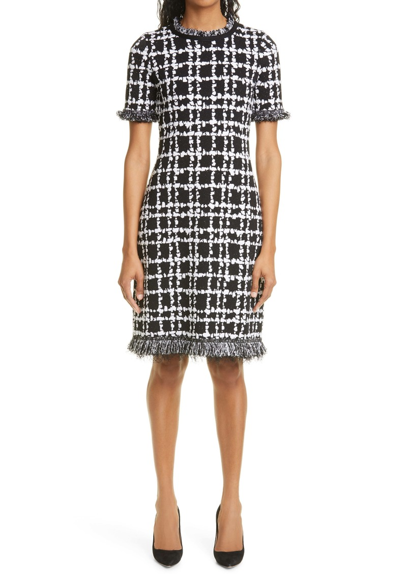 Oscar de la Renta Fringe Plaid Knit Sheath Dress