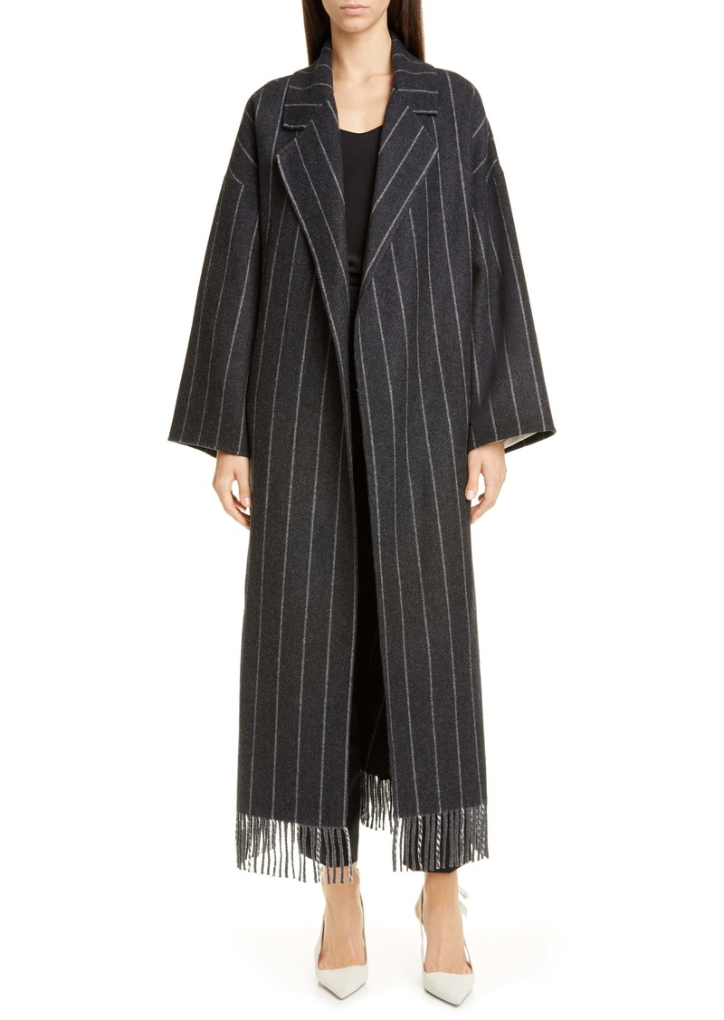Oscar de la Renta Fringe Trim Wool Blend Tweed Coat