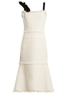 Oscar De La Renta Fringe-trimmed sleeveless tweed dress