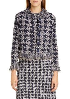 Oscar de la Renta Fringe Tweed Jacquard Knit Jacket