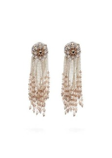 Oscar De La Renta Fringed beaded clip earrings