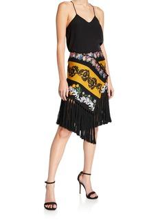 Oscar de la Renta Fringed-Trim Floral Scarf Skirt