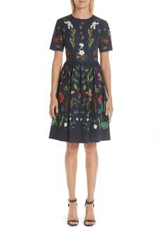 Oscar de la Renta Garden Print A-line Dress