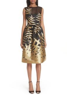 Oscar de la Renta Glitter Fil Coupé Dress