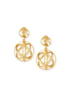 Oscar de la Renta Globe Clip-On Drop Earrings