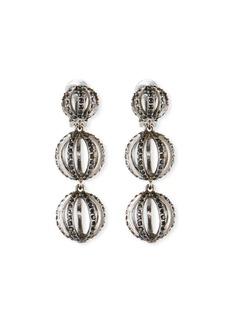 Oscar de la Renta Globe Triple-Drop Earrings w/ Pave