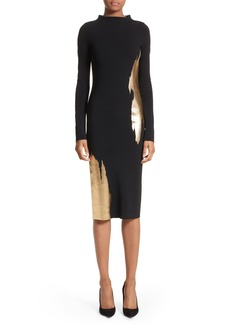 Oscar de la Renta Gold Brushstroke Knit Dress
