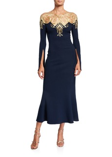 Oscar de la Renta Golden Embroidered Stretch-Wool Dress
