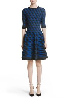 Oscar de la Renta Graphic Compact Knit Fit & Flare Dress