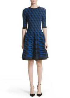 Oscar de la Renta Graphic Compact Knit Fit & Flare Dress