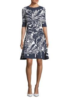 Oscar de la Renta Half-Sleeve Fit-and-Flare Printed Short Dress