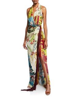 Oscar de la Renta Halter Patchwork Silk V-Neck Open Long Dress