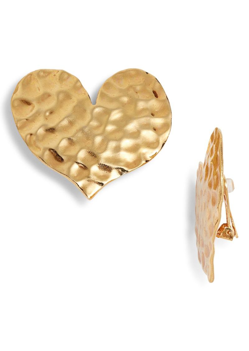 Oscar de la Renta Hammered Metal Heart Earrings