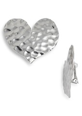 Oscar de la Renta Hammered Metal Heart Earrings