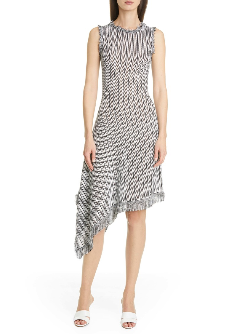 Oscar de la Renta Herringbone Knit Asymmetrical Dress