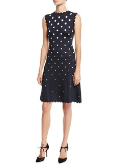 Oscar de la Renta High-Neck Sleeveless Scalloped Fit-and-Flare Polka-Dot Dress