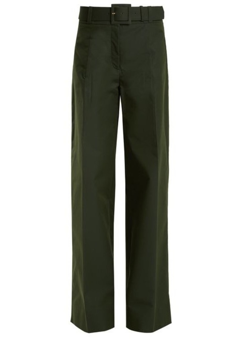 Oscar De La Renta High-rise wide-leg cotton-blend trousers