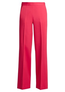 Oscar De La Renta High-rise wide-leg stretch-cady trousers