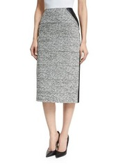 Oscar de la Renta High-Waist Tweed/Leather Pencil Skirt