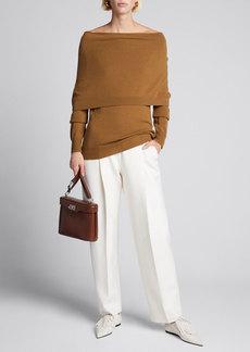 Oscar de la Renta High-Waist Wool-Blend Pants