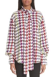 Oscar de la Renta Houndstooth Tie Neck Stretch Silk Blouse