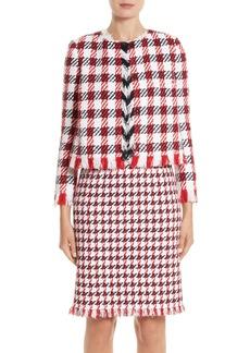 Oscar de la Renta Houndstooth Tweed Jacket