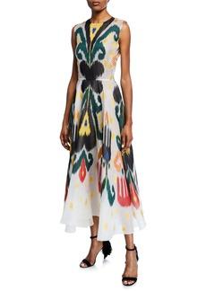 Oscar de la Renta Ikat Patterned Sleeveless Midi Dress