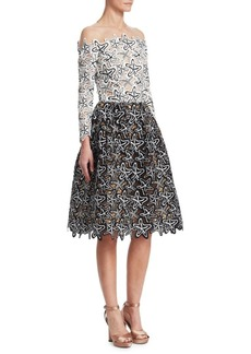 Oscar de la Renta Illusion Starfish Off-the-Shoulder Dress