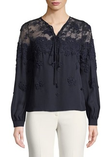 Oscar de la Renta Illusion Tie-Neck Long-Sleeve Silk Blouse
