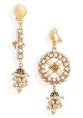 Oscar de la Renta Imitation Pearl Clip-On Drop Earrings
