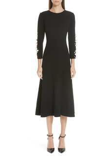 Oscar de la Renta Imitation Pearl Embellished Stretch Wool Crepe Dress