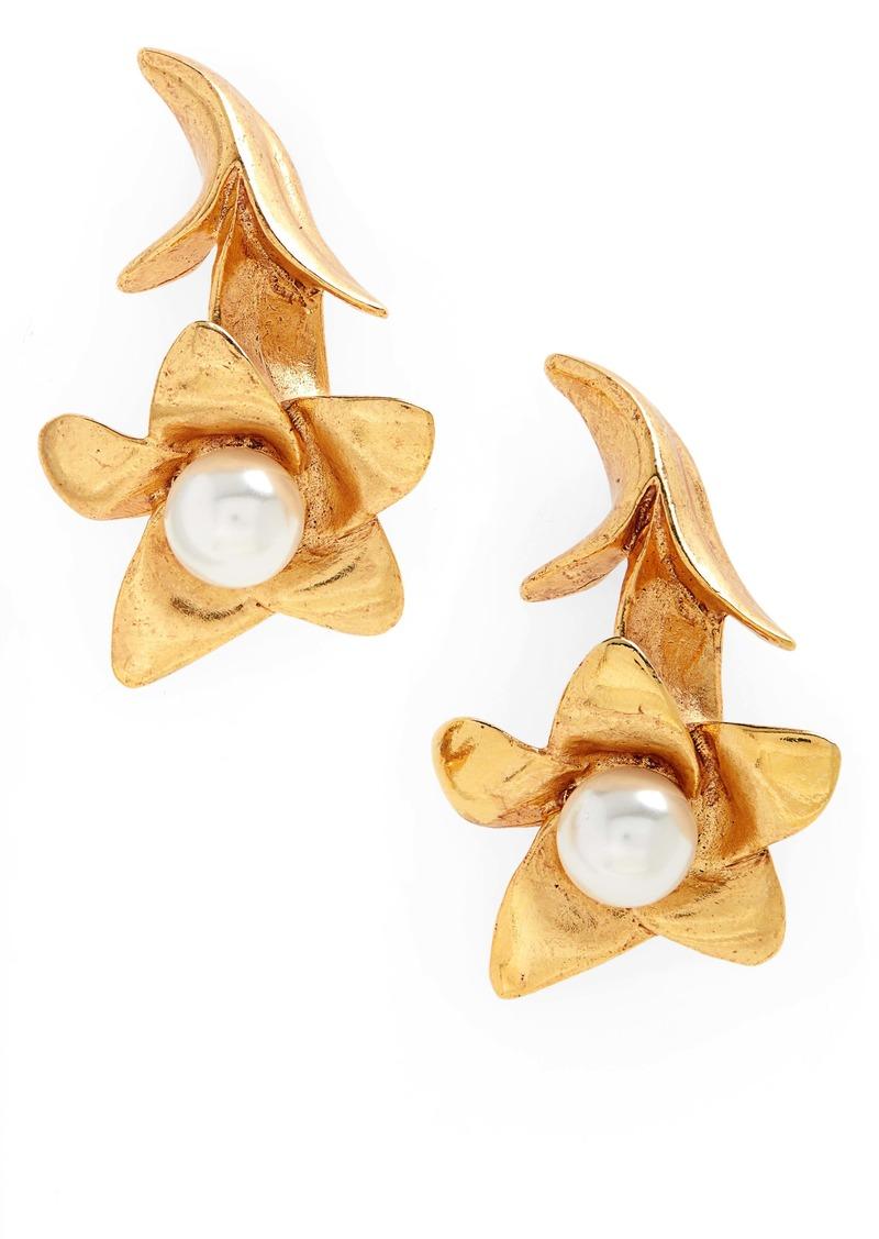 Oscar de la Renta Imitation Pearl Flower Drop Earrings